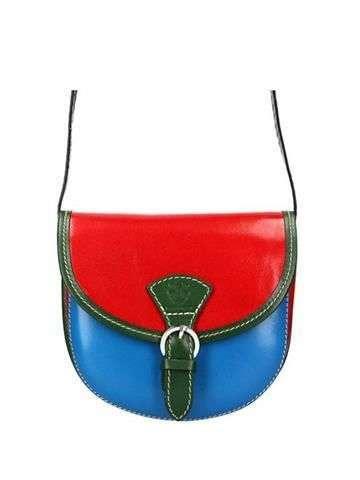 Damska Torebka Skórzana Gregorio 111 czerwony + niebieski