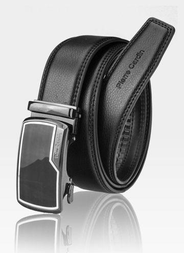 Pasek Skórzany Męski PIERRE CARDIN Czarny Metalowa Klamra Automatyczna 530