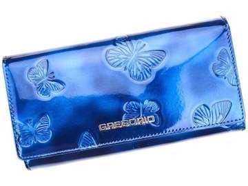 Portfel Damski Skórzany Gregorio BT-106 niebieski Skóra Naturalna Lakierowana