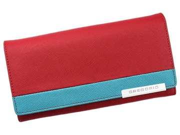 Portfel Damski Skórzany Gregorio FRZ-100 czerwony + niebieski Skóra Naturalna
