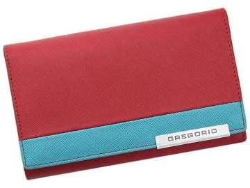 Portfel Damski Skórzany Gregorio FRZ-101 czerwony + niebieski Skóra Naturalna