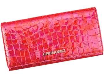 Portfel Damski Skórzany Gregorio FS-102 czerwony Skóra Naturalna Lakierowana