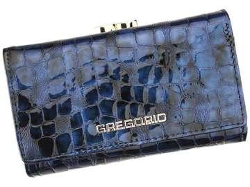Portfel Damski Skórzany Gregorio FS-108 niebieski Skóra Naturalna Lakierowana