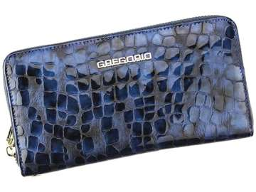 Portfel Damski Skórzany Gregorio FS-118 niebieski Skóra Naturalna Lakierowana