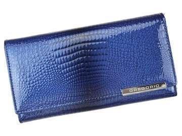 Portfel Damski Skórzany Gregorio GF102 niebieski Skóra Naturalna Lakierowana