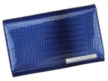Portfel Damski Skórzany Gregorio GF112 niebieski Skóra Naturalna Lakierowana