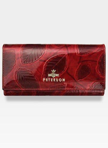 Portfel Damski Skórzany PETERSON 467 Czerwone Liście Lakierowane