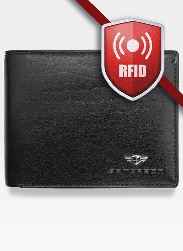 Portfel Męski Peterson Skórzany 347 Czarny RFID STOP