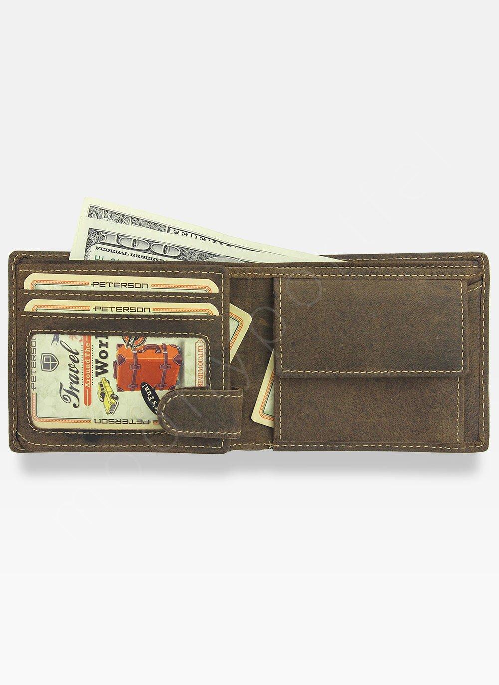 82b4486e40d9f Kompaktowy Portfel Męski Peterson Skórzany 367 RFID 367 2-1-4 RFID ...
