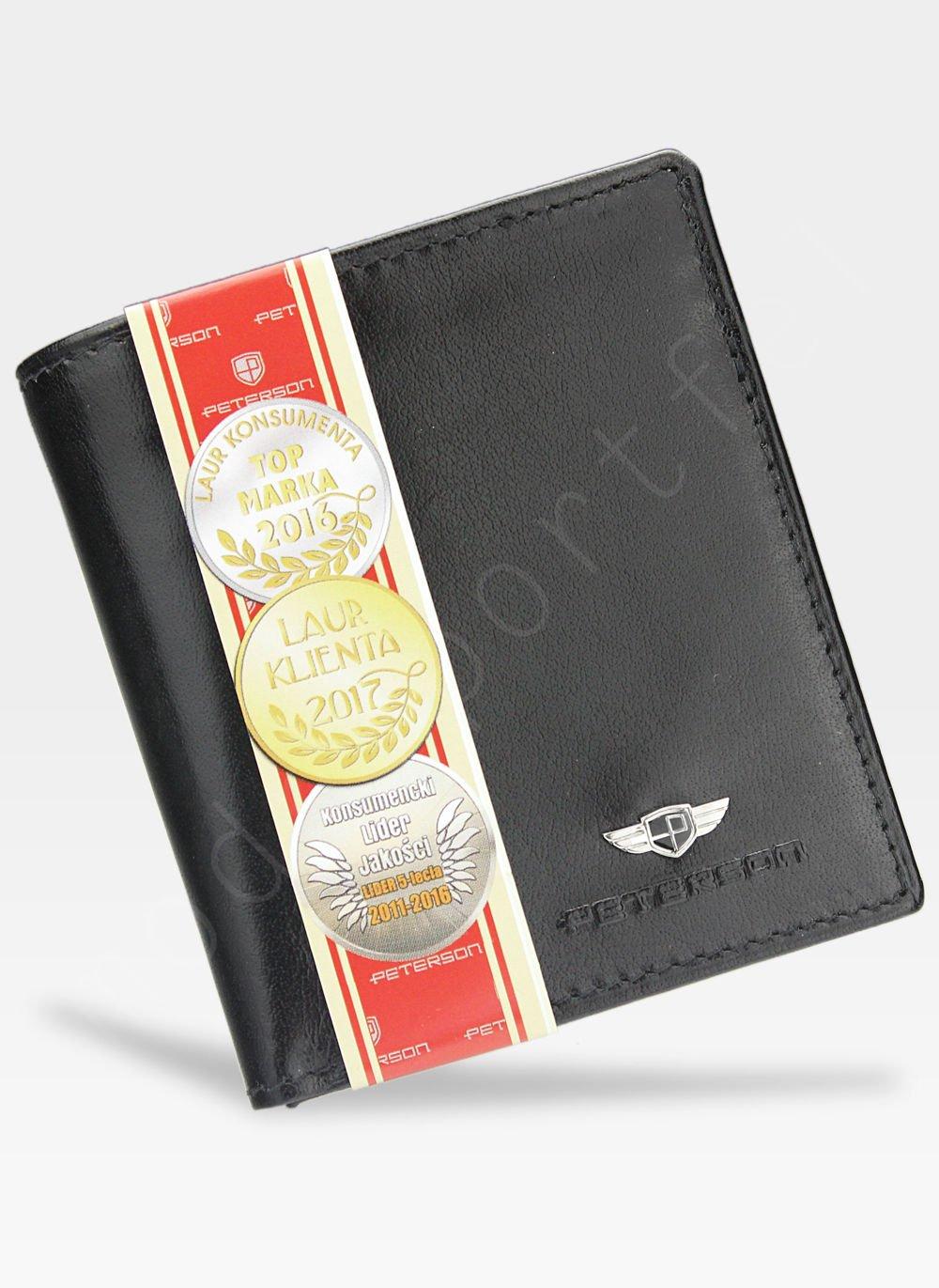 2ace1b938fad7 Kompaktowy Portfel Męski Skórzany Peterson Czarny 365 365 2-1-1 SGWB ...