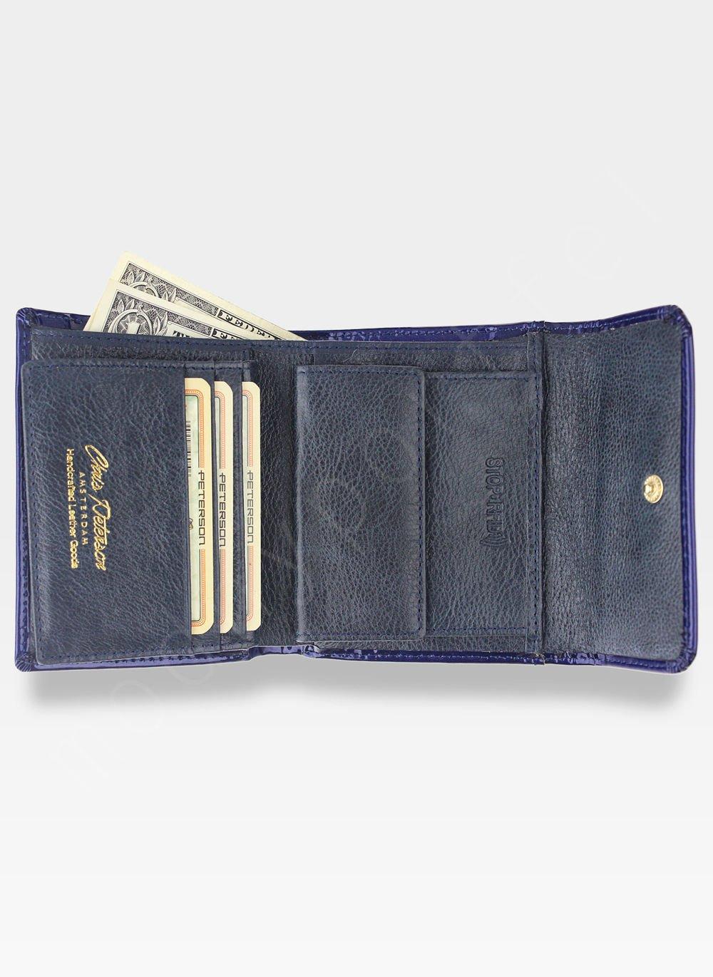 2207859348c4c ... PETERSON Portfel Damski Skórzany Mały Ciemny Niebieski Lakierowany  System RFID BC441 Kliknij