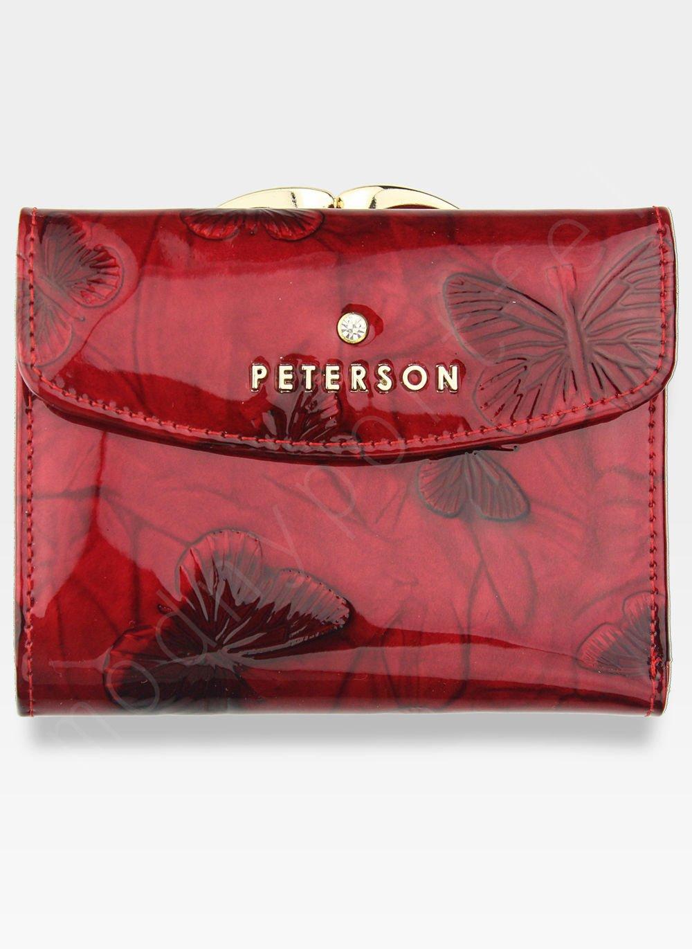 b4f4e33960320 Portfel Damski Skórzany Bigiel PETERSON Czerwone Motyle Lakierowane ...