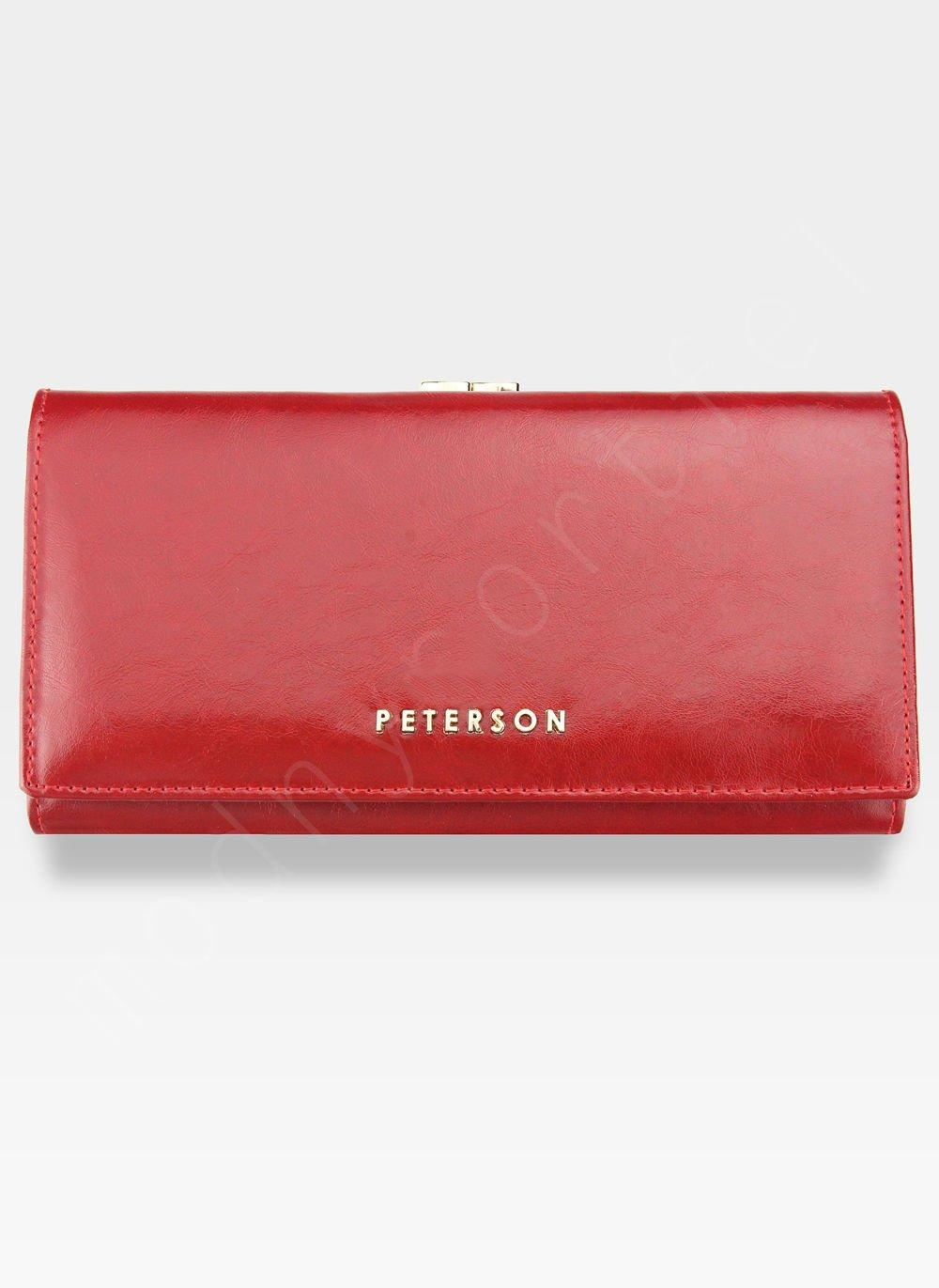 2e4d6b6389e47 Portfel Damski Skórzany PETERSON 721 Czerwony Portmonetka PL 721 RED ...