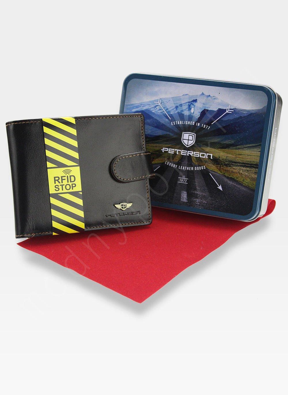 aeeac18868e202 Kliknij, aby powiększyć · Portfel Męski Peterson Skórzany 306 Ciemny Brąz  Zapinany System RFID Mieści ...