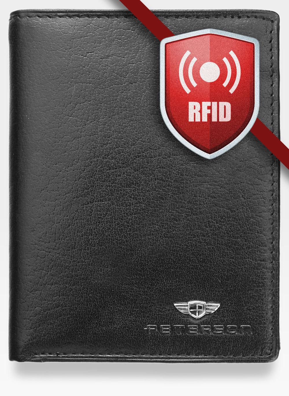 a2362a2927366 Portfel Męski Peterson Skórzany Czarny 350 RFID STOP 350 2-1-1 RFID ...
