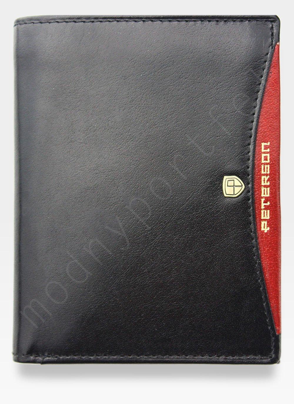77696c3515ebf Portfel Męski Peterson Skórzany Czarny + Czerwony 302 SLIM Cienki Kliknij,  aby powiększyć ...