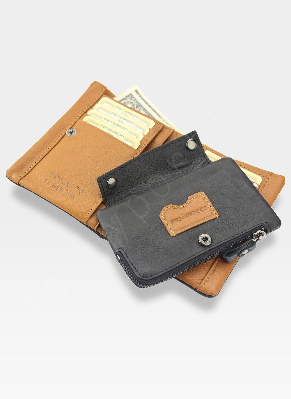 cf6bbec140ec6 ... Portfel Męski Peterson Skórzany Miękki Skóra Naturalna SD Card 8102  Czarny Camel Kliknij, aby powiększyć ...
