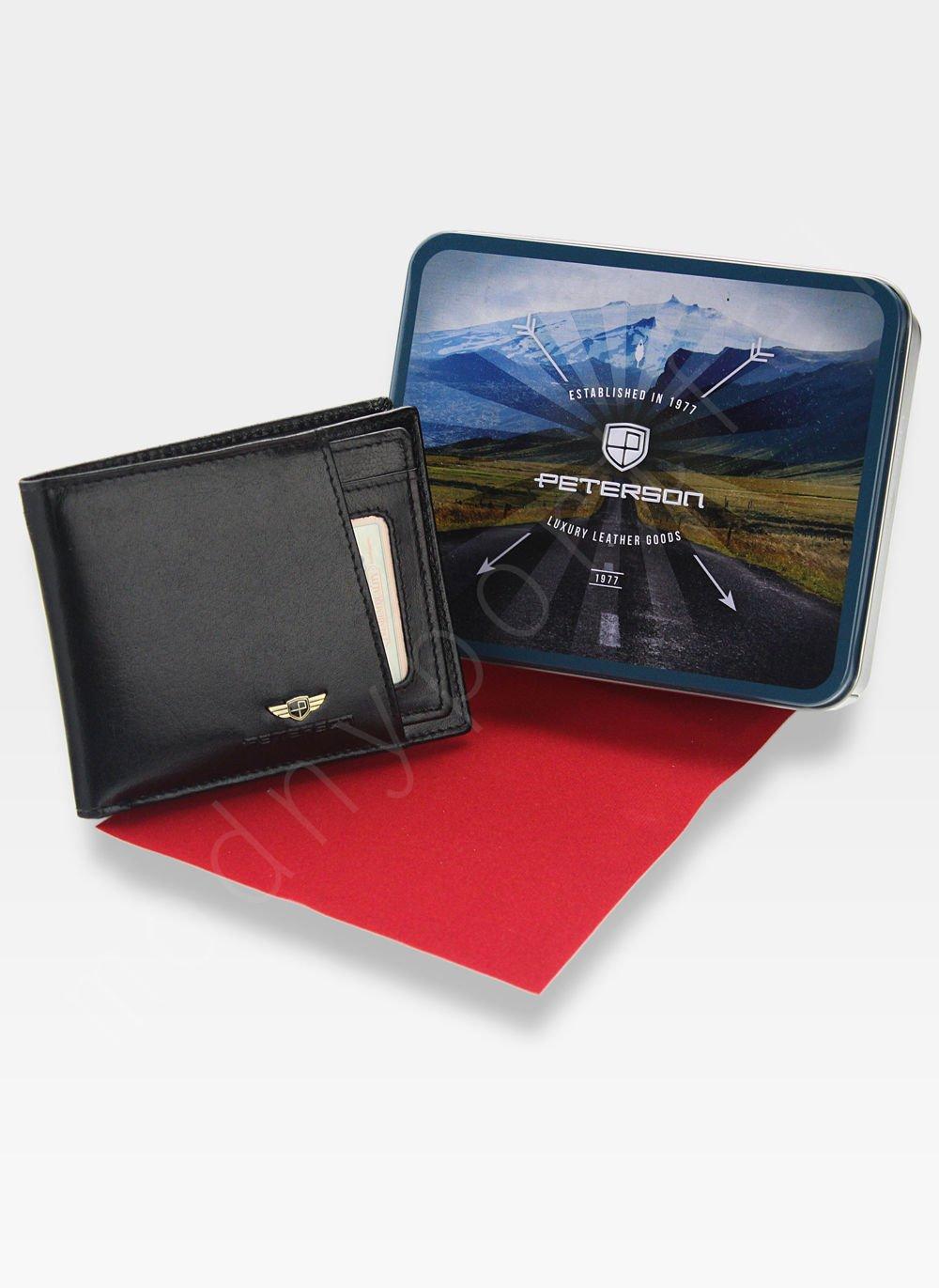 12d4ee53fa8d2 Portfel Męski Z Wkładką Cardholder Peterson Skórzany 381 Czarny RFID STOP  Kliknij, aby powiększyć ...
