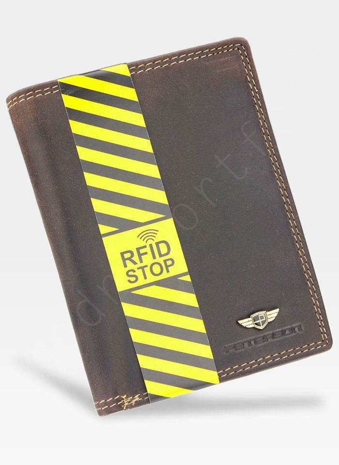 Bezpieczny Portfel Męski Skórzany Peterson Skóra Naturalna Nubuk System RFID 342