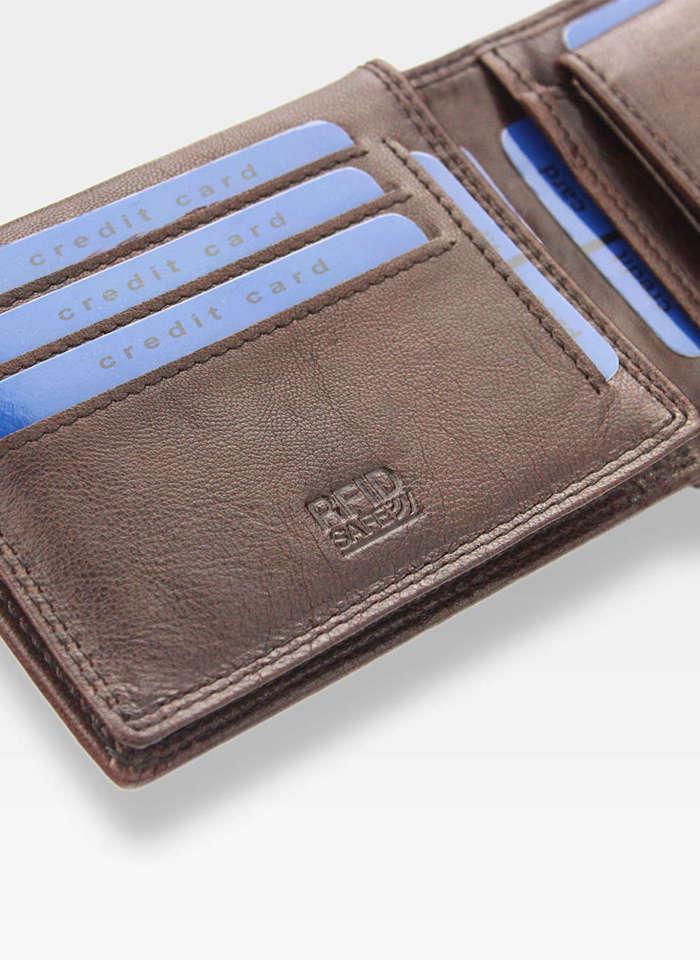 Bezpieczny Portfel RFID STOP Pierre Cardin Skórzany Męski Brązowy Lucas05 8806