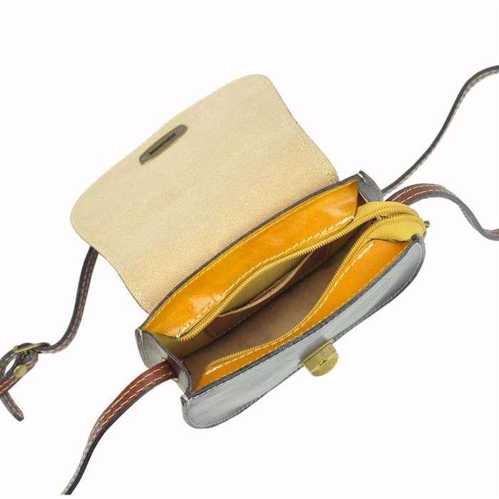 Damska Torebka Skórzana Gregorio 117 MULTI żółty + ciemny brąz