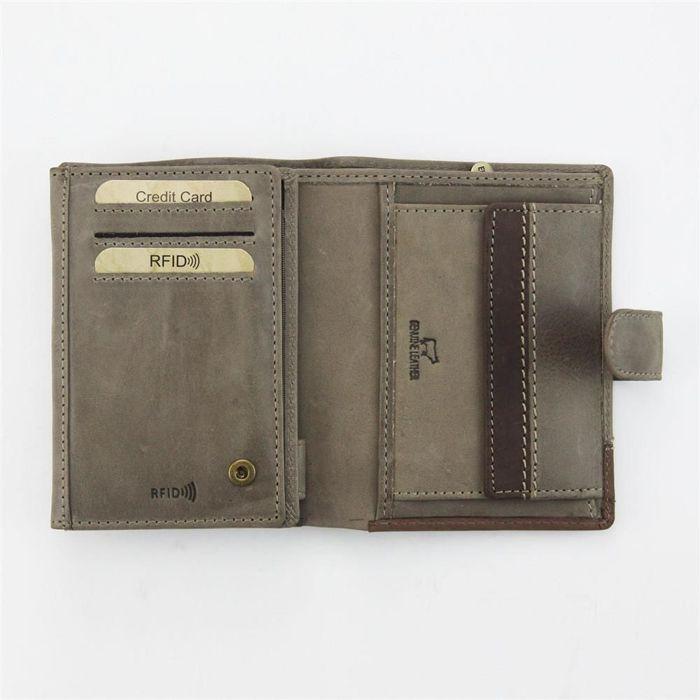 Klasyczny portfel męski skórzany EL FORREST 988-02 RFID beż + brąz