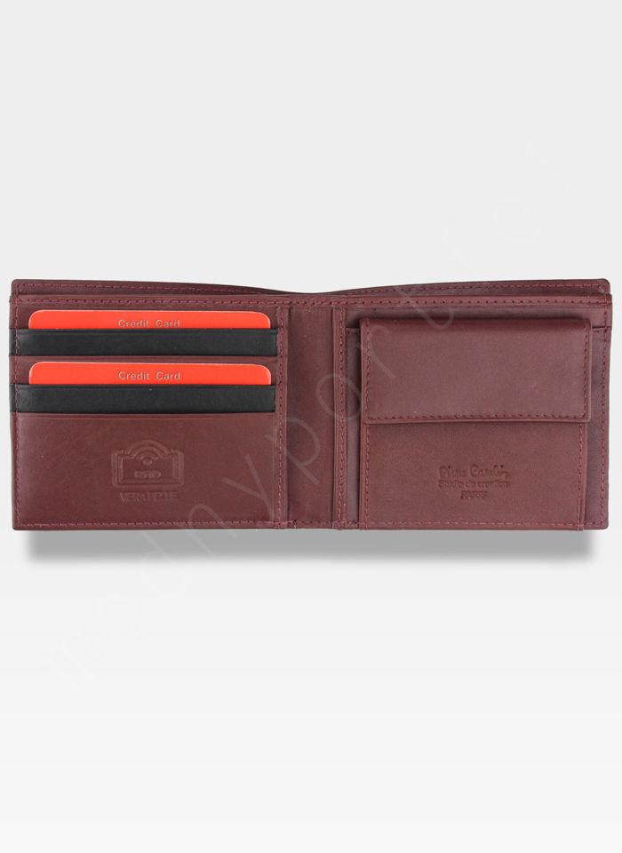 Mały I Cienki  Portfel Męski PIERRE CARDIN Skórzany Tilak27 8824 RFID Czarny + Bordowy