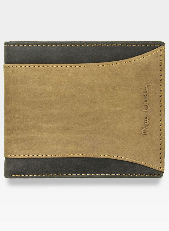 Mały I Cienki Portfel Męski Poziomy Pierre Cardin Brązowy Skórzany Hunter 8824