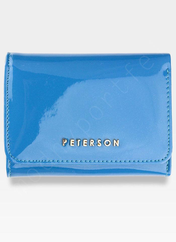 PETERSON Portfel Damski Skórzany Lakierowany Niebieski PZ455