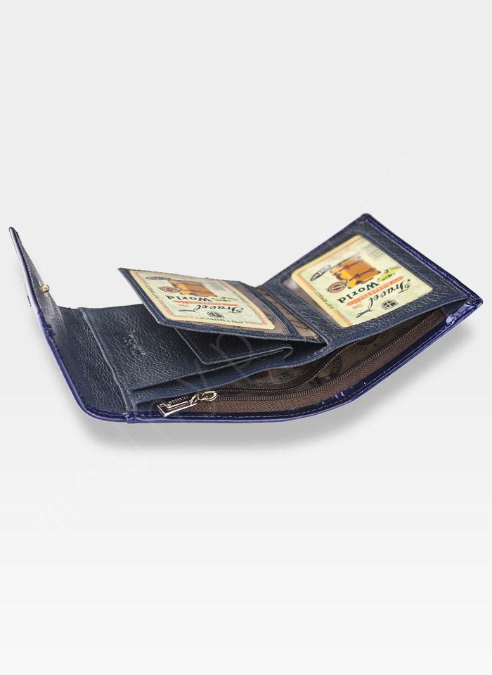 PETERSON Portfel Damski Skórzany Mały Ciemny Niebieski Lakierowany System RFID BC441