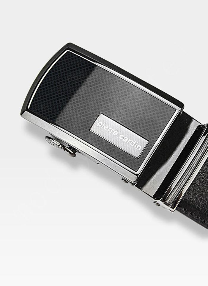 Pasek Skórzany Męski PIERRE CARDIN Czarny Metalowa Klamra Automatyczna 5072
