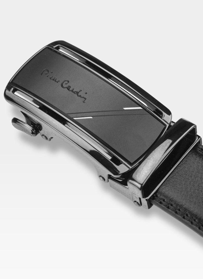 Pasek Skórzany Męski PIERRE CARDIN Czarny Metalowa Klamra Automatyczna 532