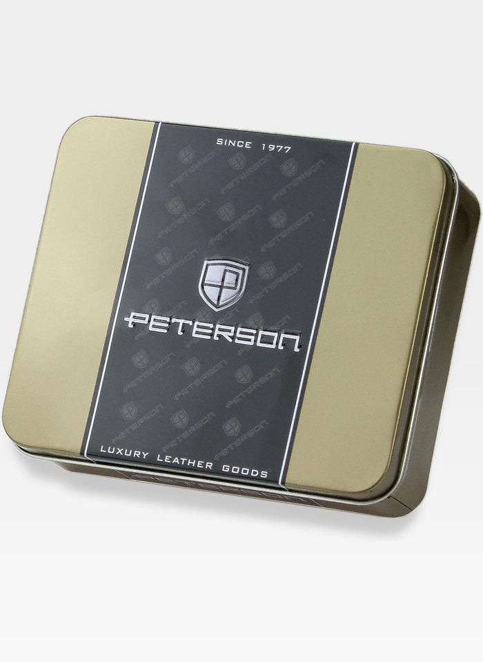 Peterson Portfel Męski Skórzany z wyciąganą wkładką 335 Ciemny Brąz