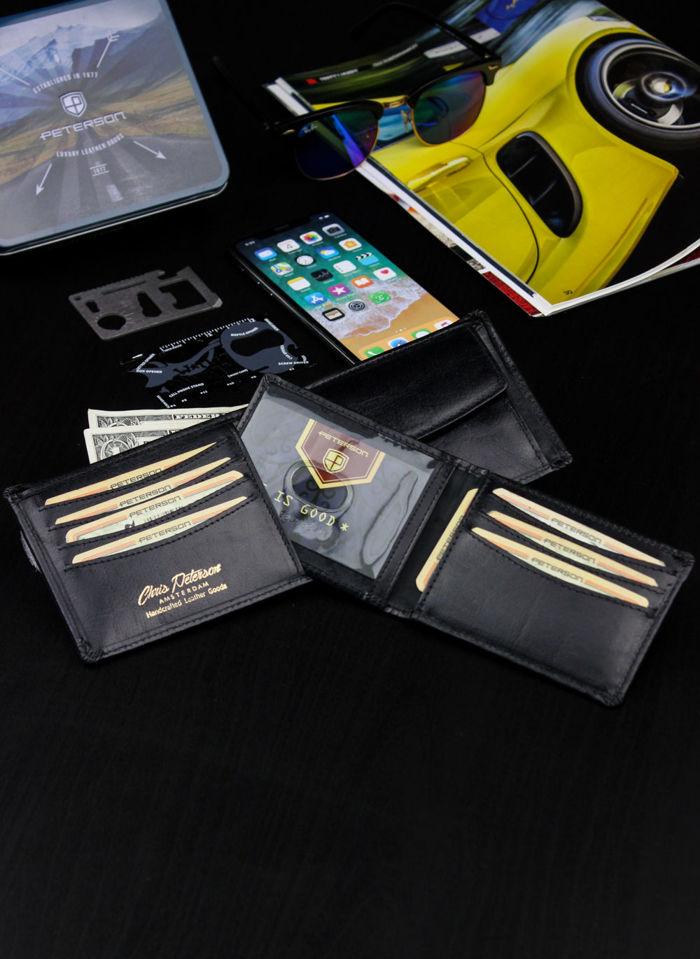 Peterson Portfel Męski Skórzany z wyciąganą wkładką Czarny RFID STOP 335