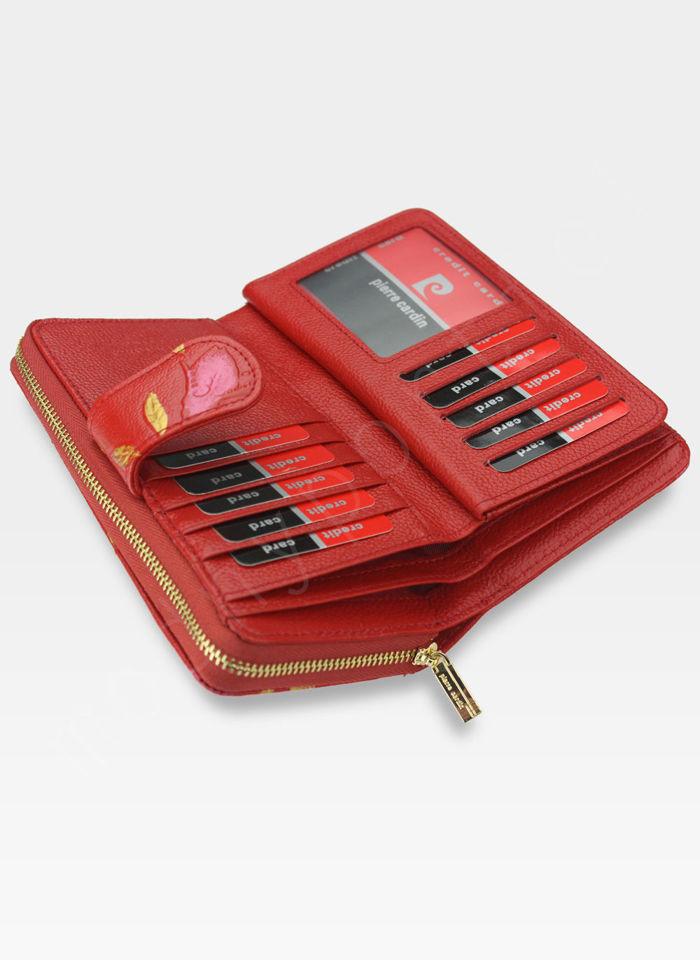 Portfel Damski Pierre Cardin Skórzany Czerwony w Liście 04 Plant 116