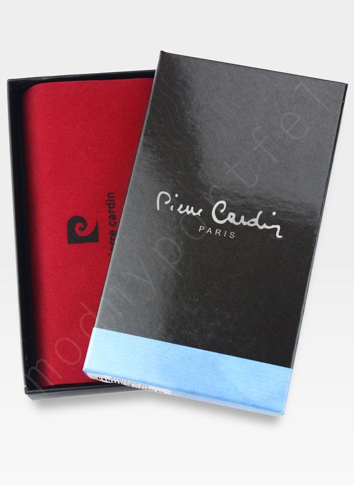 Portfel Damski Pierre Cardin Skórzany Duży Podwójny Suwak Ciemny Granatowy w Liście 04 Plant 118