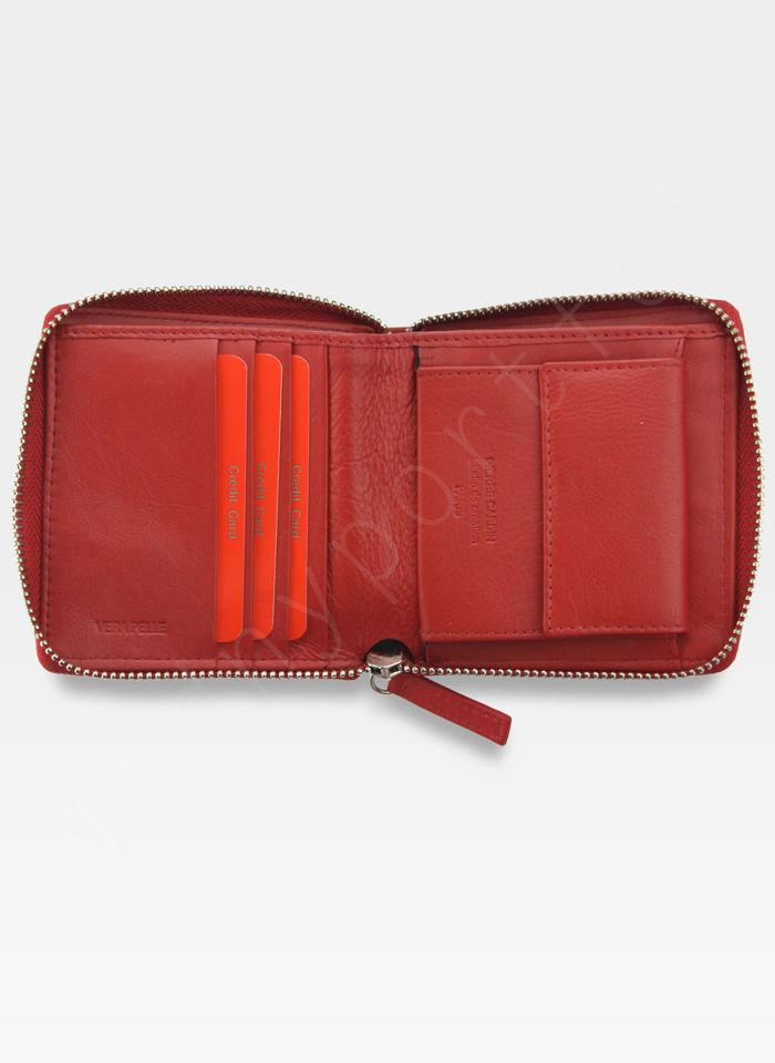 Portfel Damski Pierre Cardin Skórzany Wyjątkowa Faktura Tilak10 MK01 Czerwony