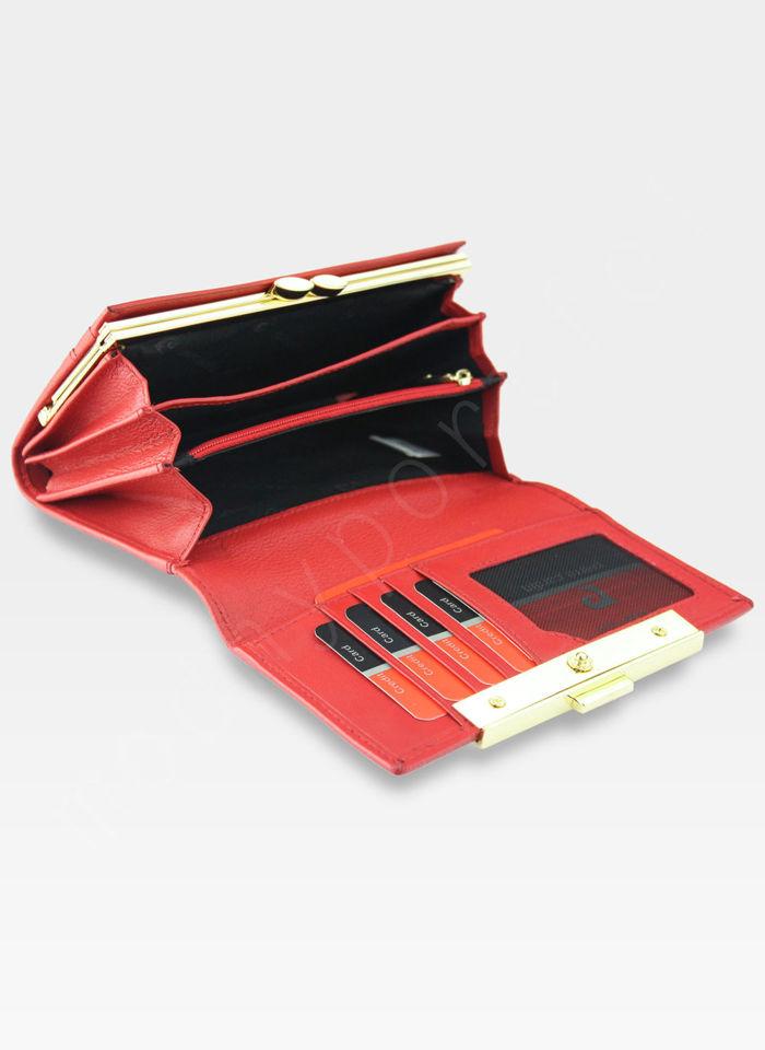Portfel Damski Pierre Cardin Skórzany z Biglem Metalowa Wstawka Tilak20 455 Czerwony