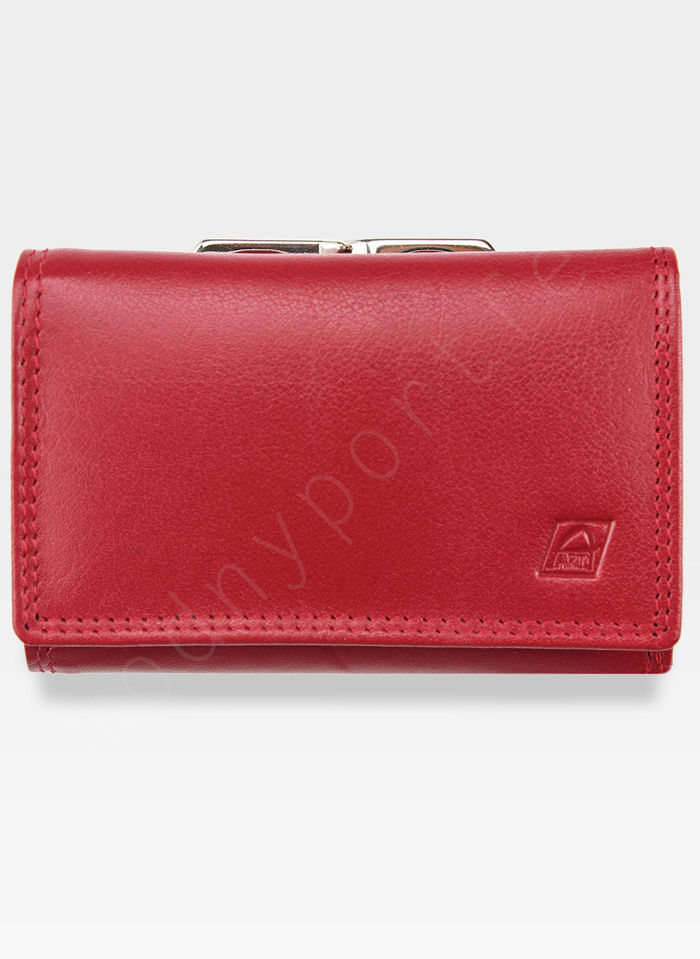 Portfel Damski Skórzany A-Art Elegancki Klasyczny Bigiel 3415-pd Czerwony