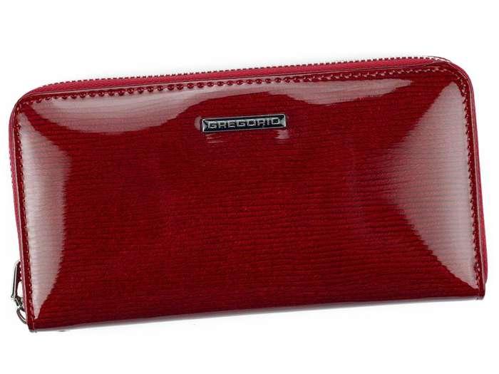 Portfel Damski Skórzany Gregorio LN-119 czerwony Skóra Naturalna Lakierowana