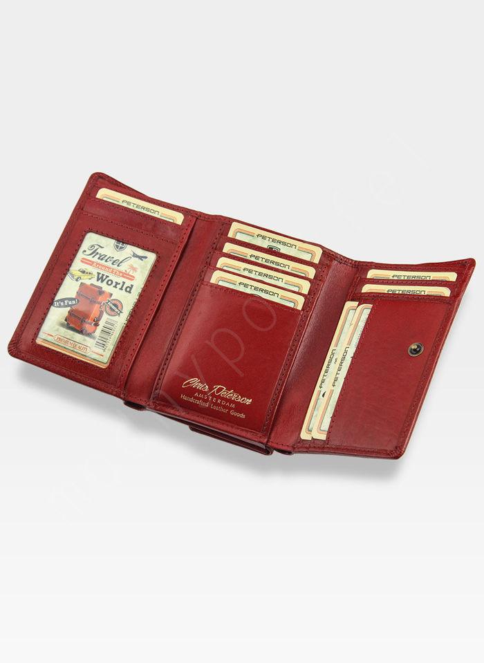 Portfel Damski Skórzany PETERSON 415 Czerwony