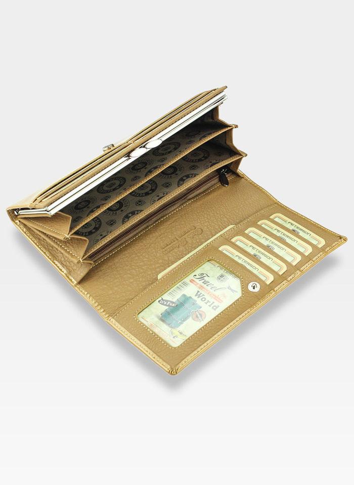 Portfel Damski Skórzany PETERSON 467S Złoty Lakierowany