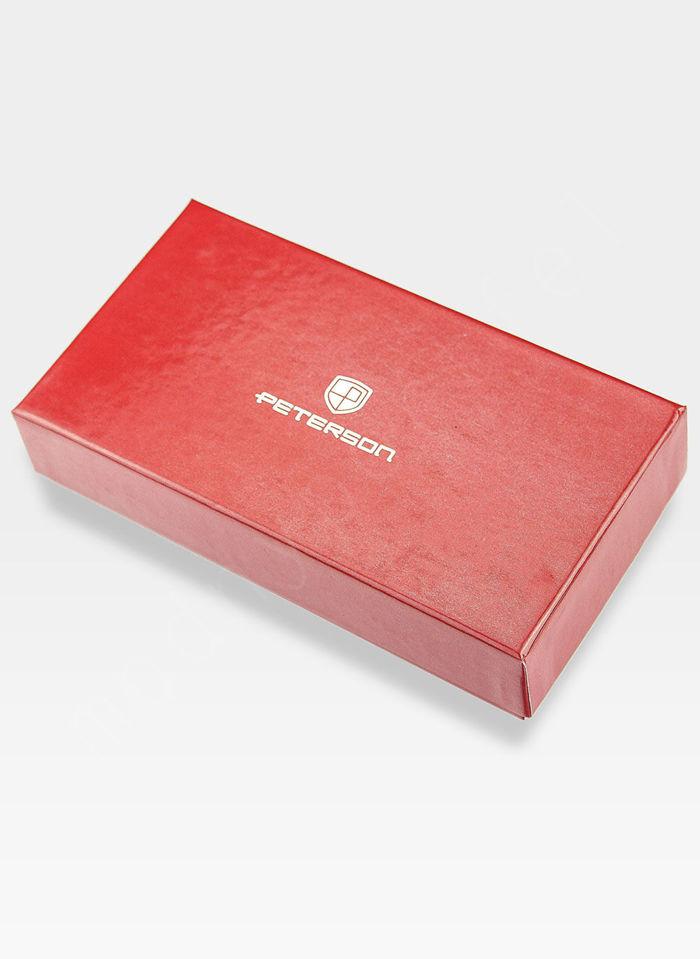 Portfel Damski Skórzany PETERSON 496 Czerwony Lakierowany