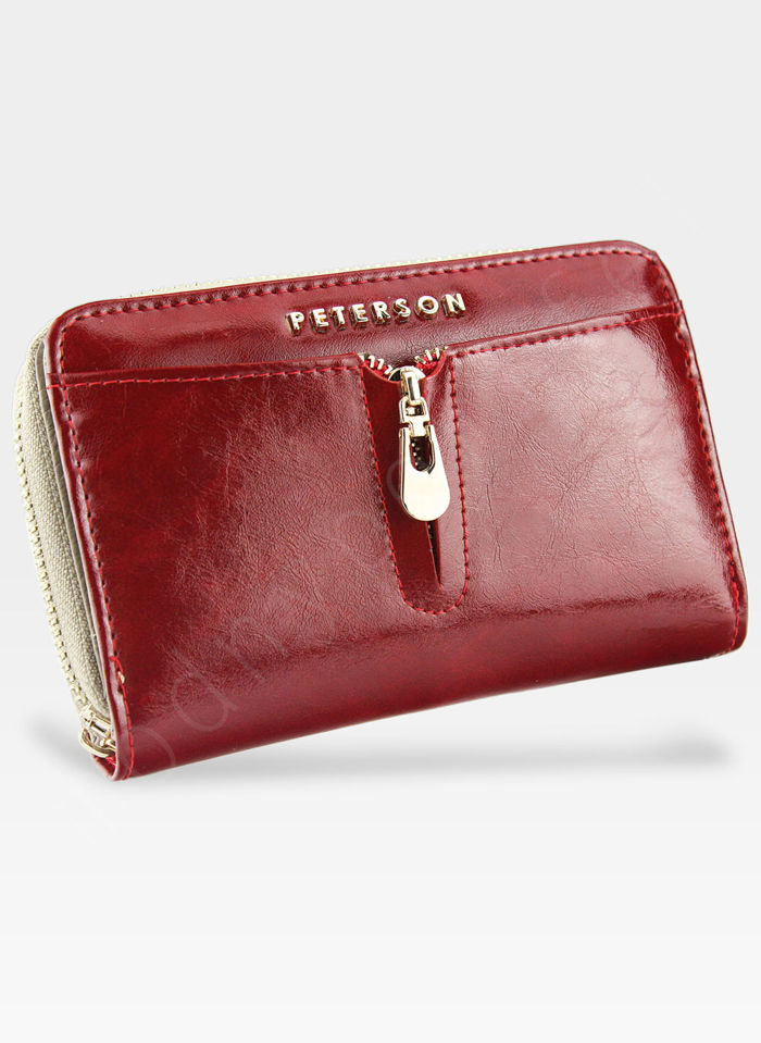 Portfel Damski Skórzany PETERSON 856 Czerwony + Beż