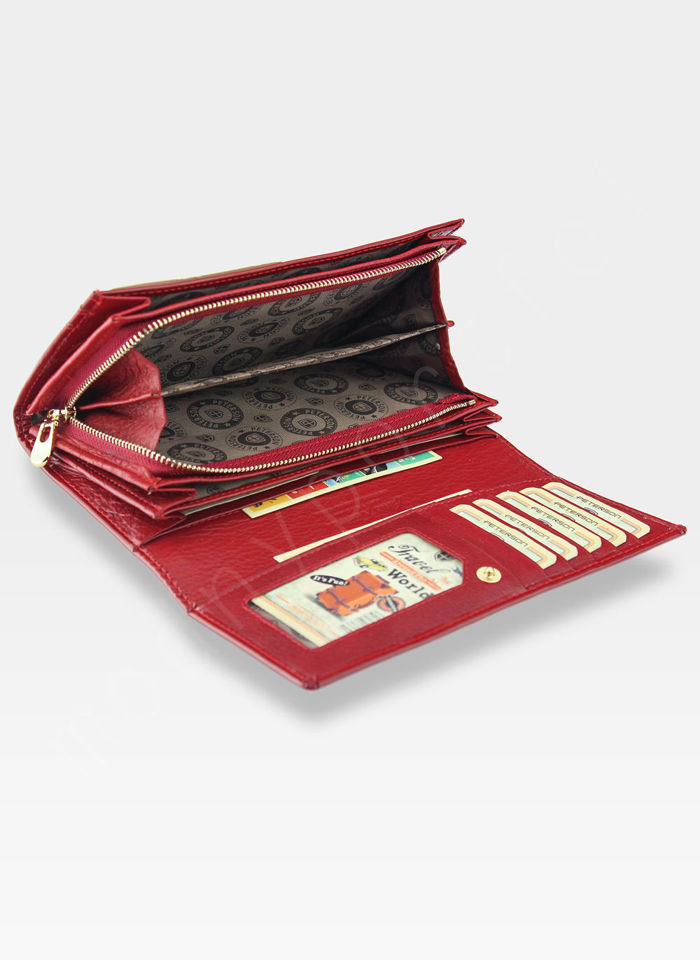 Portfel Damski Skórzany PETERSON Duży Czerwony Pojemny 410 RFID
