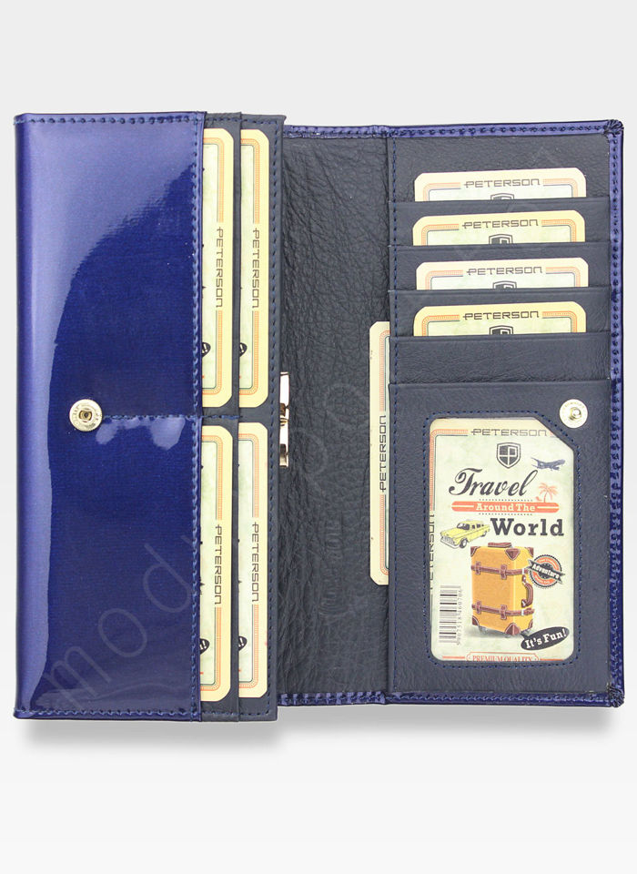 Portfel Damski Skórzany PETERSON Duży Elegancki Pojemny System RFID Ciemny Niebieski 467