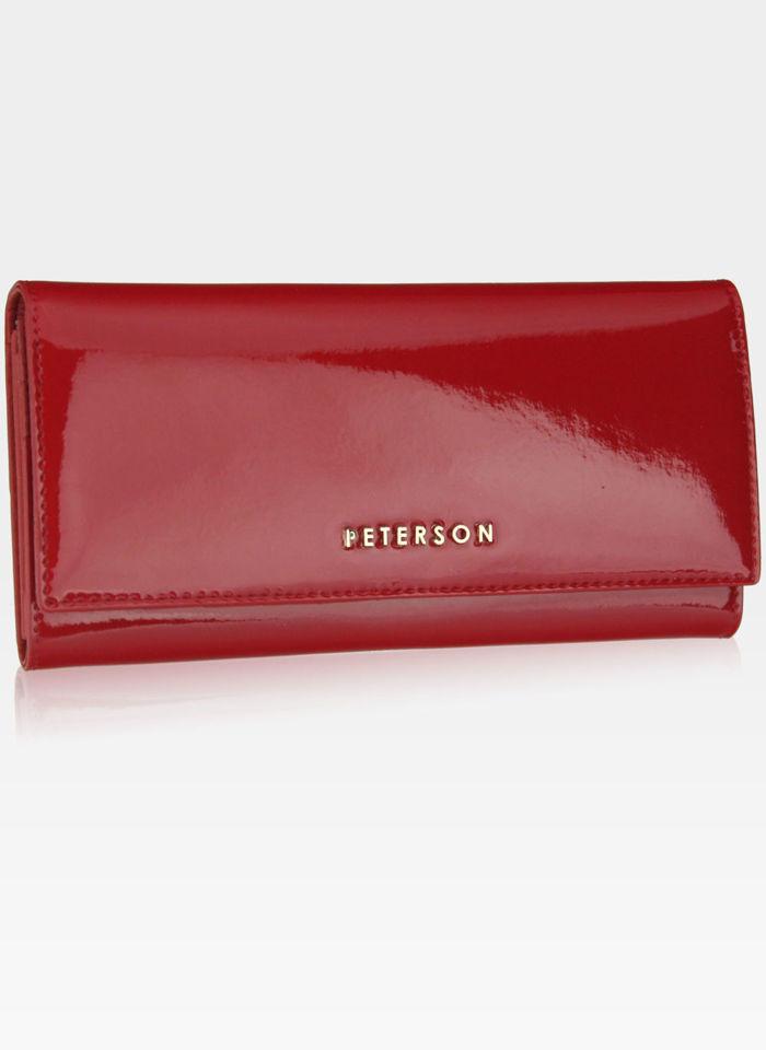 Portfel Damski Skórzany PETERSON Duży Elegancki Pojemny System RFID Czerwony 467
