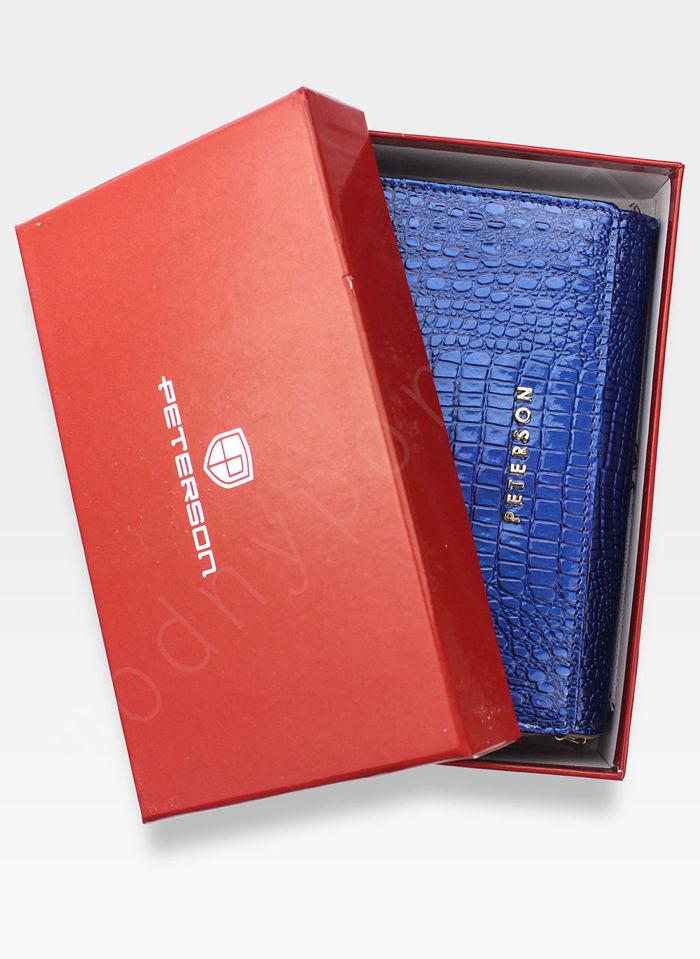 Portfel Damski Skórzany PETERSON Lakierowany 601 Niebieski+Beż