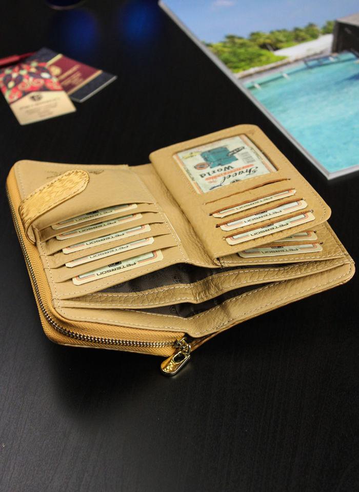 Portfel Damski Skórzany PETERSON Lakierowany Bardzo Pojemny Gold 603