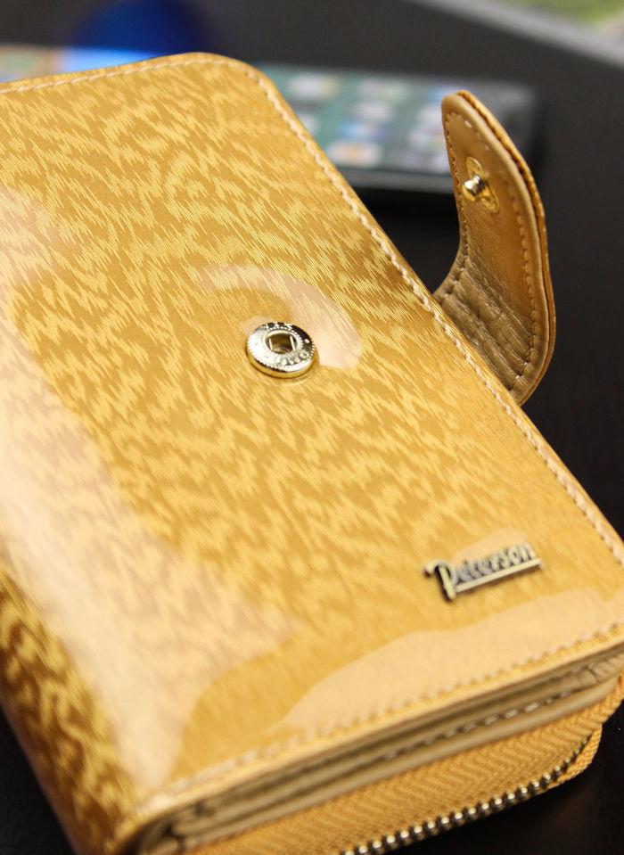 Portfel Damski Skórzany PETERSON Lakierowany Złoty 602